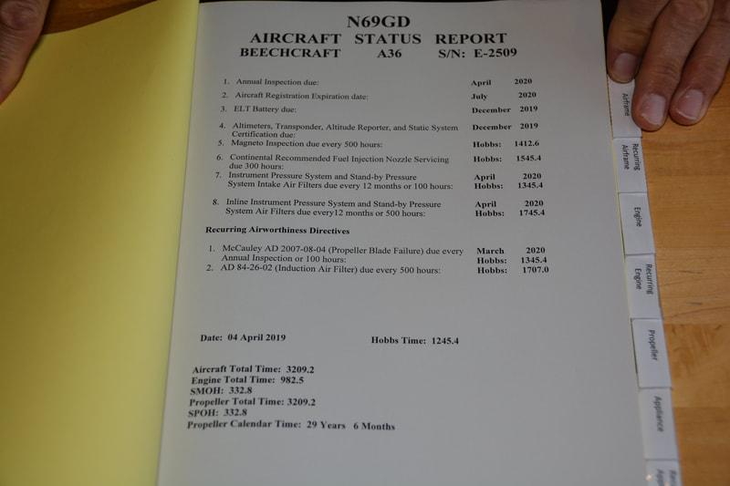 1989 Beech A36 Bonanza Logs - HEGG AIRCRAFT